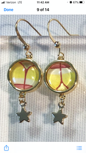 Color & Gold Sun Lotus Star Earrings