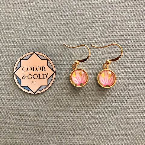 Color & Gold Returning Meadow 9 pink flower earrings