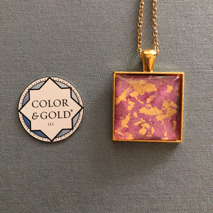 Color & Gold Abstract necklace in pink & gold square