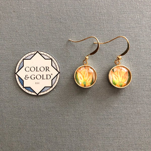 Color & Gold Returning Meadow 9 orange flower earrings