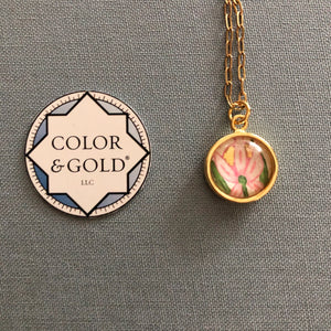 Color & Gold Returning Meadow 9 pink flower Necklace
