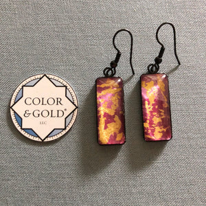 Color & Gold Abstract Earrings in pink & gold rectangle