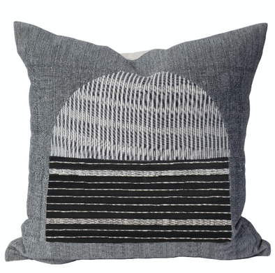 Black and grey pillow with arch graphic by Kufri Life