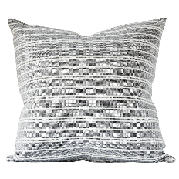 Grey and white horizontal stripe pillow by Kufri Life