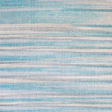 Turquoise and cream horizontal stripe textile by Kufri LIfe