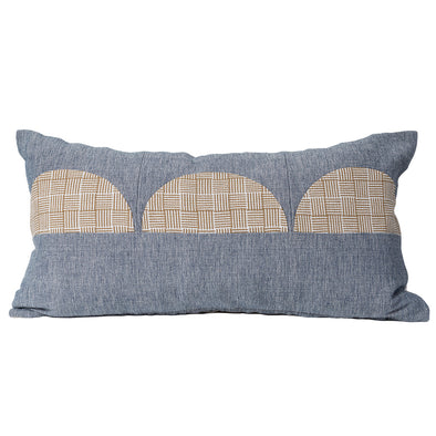 Lumbar pillow in tan and blue by KUFRI