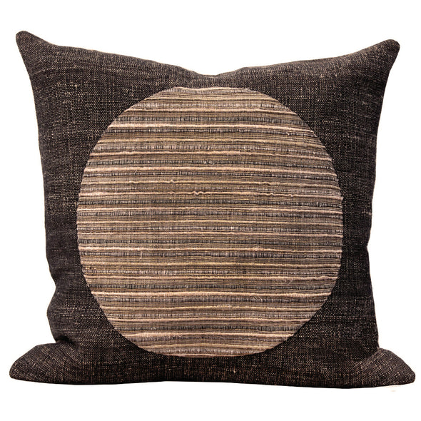 Gold and flax pillow with circle pattern