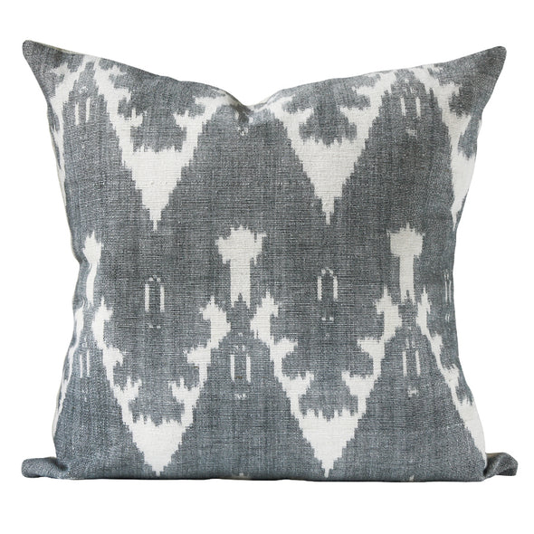 Ira ikat pattern pillow in Grey