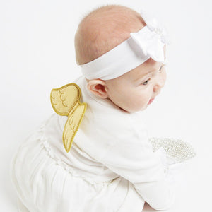 baby dress with gold angel wings