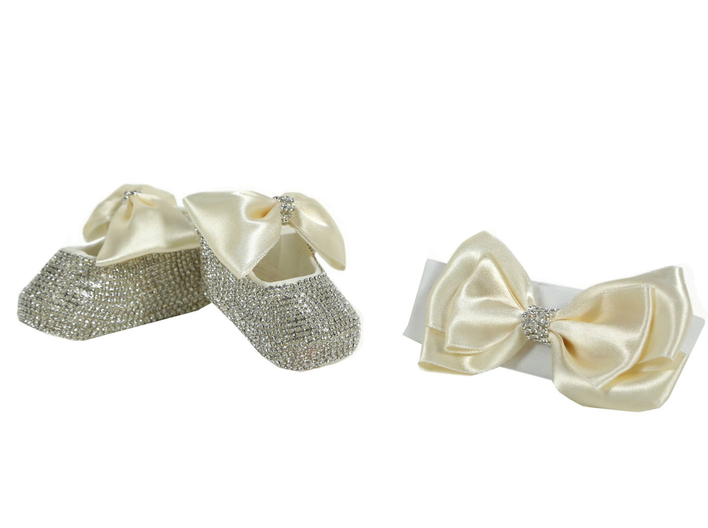 Swarovski Crsytals Handmade Baby Girl's Ivory Shoes and Hairband Gift Set  / Christening Shoes - miniplum