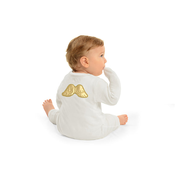 Ivory/ Full Gold Angel Jumpsuit - miniplum