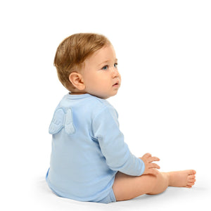 angel wings baby grow in blue with long sleeves