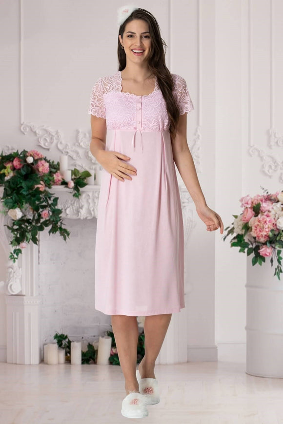 Pink Lace Maternity & Nursing Nightdress