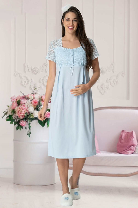 Blue Lace Maternity & Nursing Nightdress
