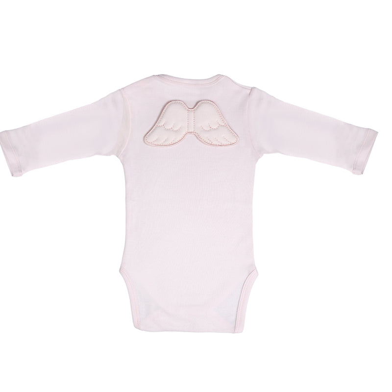 Pink Angel Wings Long Sleeve Bodysuit Onesie - miniplum