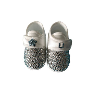 Blue Crystals Baby Boy Initial Custom Shoes - miniplum
