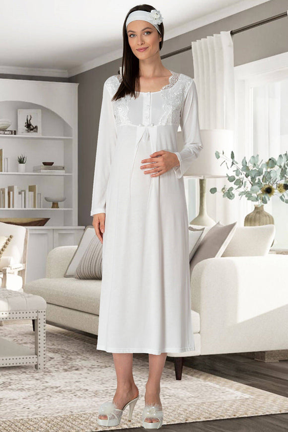 Long Sleeve Lace Maternity & Nursing Nightdress