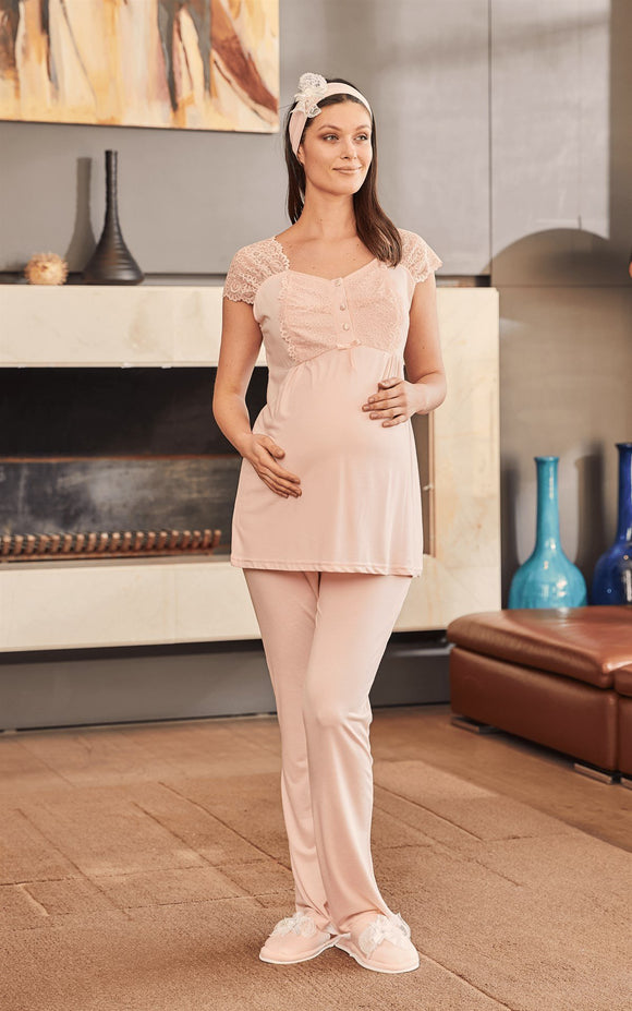 3 piece Maternity& Nursing Pyjama Set in Pink