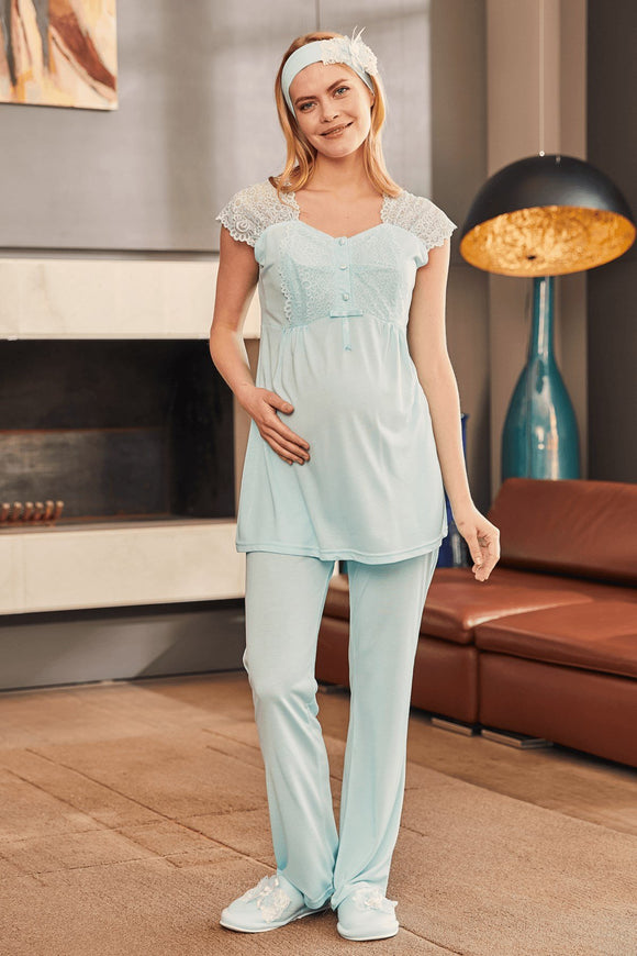 3 piece Maternity& Nursing Pyjama Set in Blue