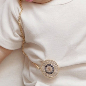 Evil Eye Crystal Pacifier Clip Holder - miniplum