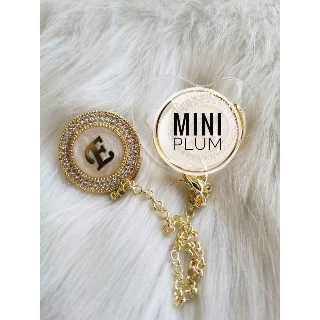 Personalized Initial Pacifier Clip Gold - miniplum