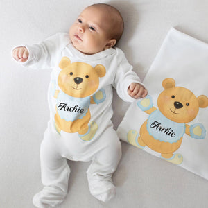 personalised baby grow with teddy bear print