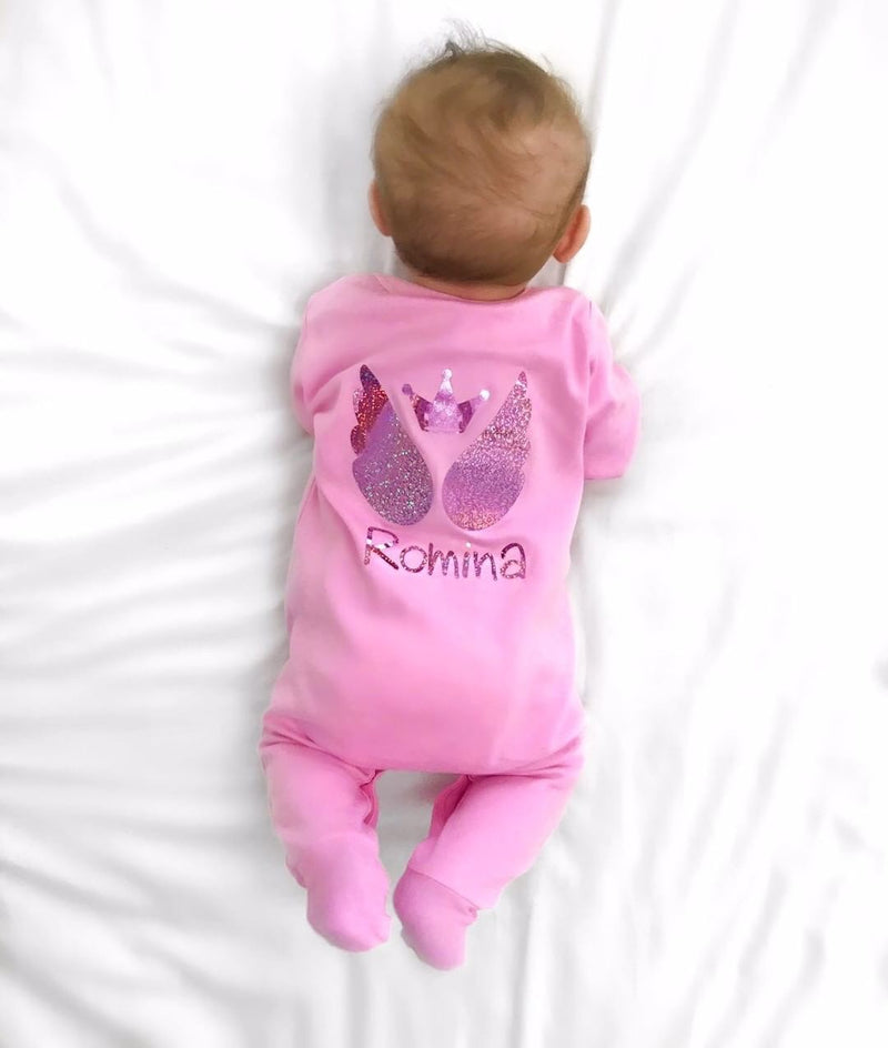 Personalised Pink Baby Sleepsuit Sparkly Angel Wings - miniplum