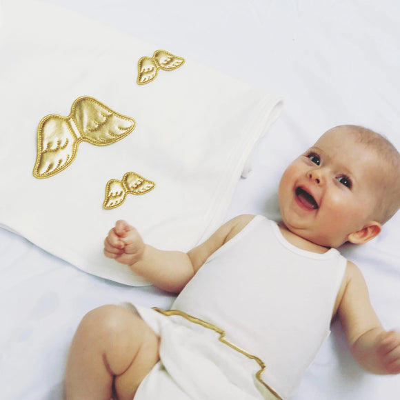 baby blanket with gold angel wings