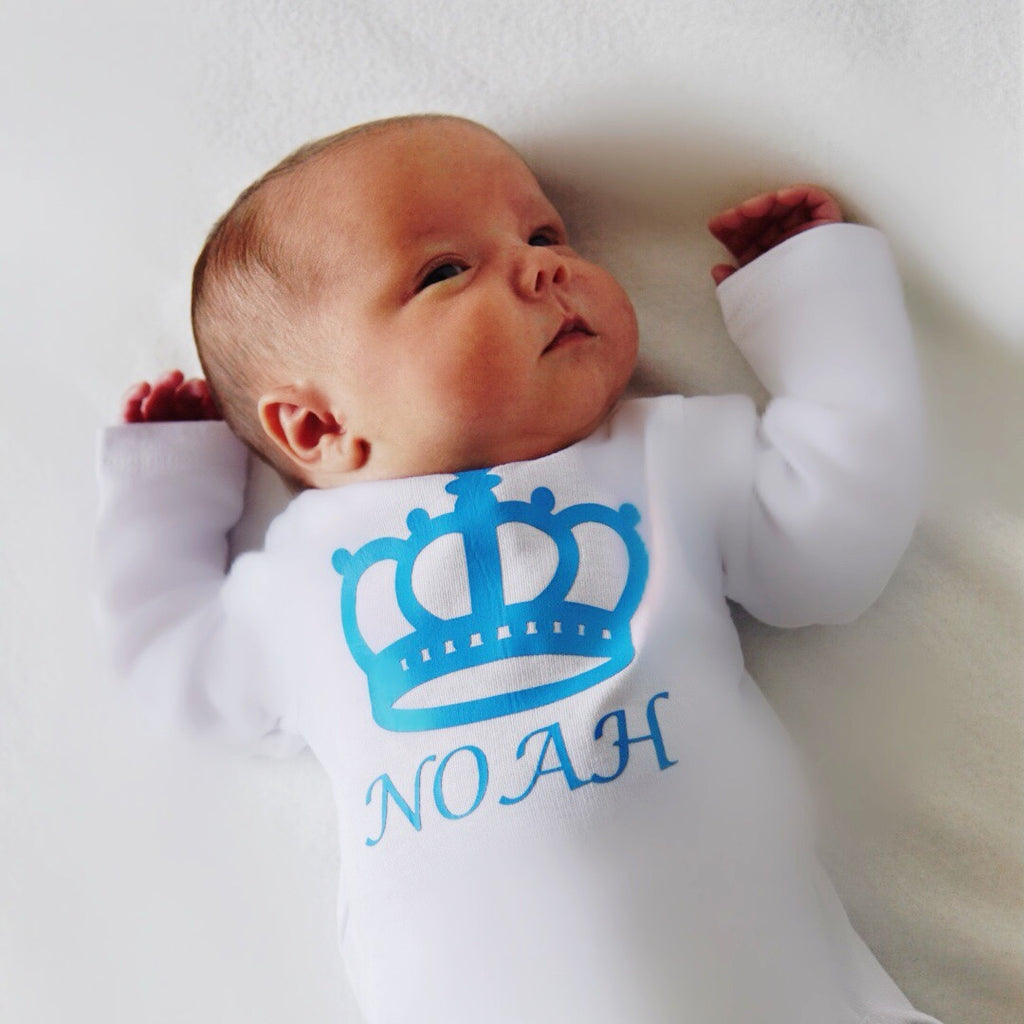 Personalised Crown Baby Bodysuit - miniplum