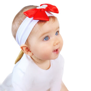 red bling baby bow