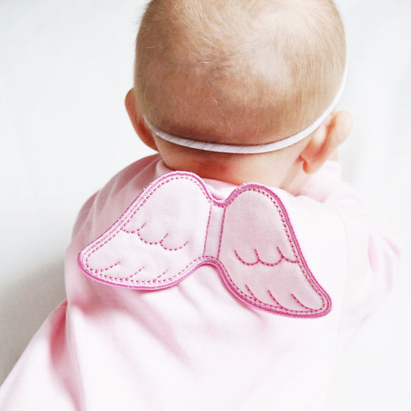 pink angel wings baby grow l=with long sleeves
