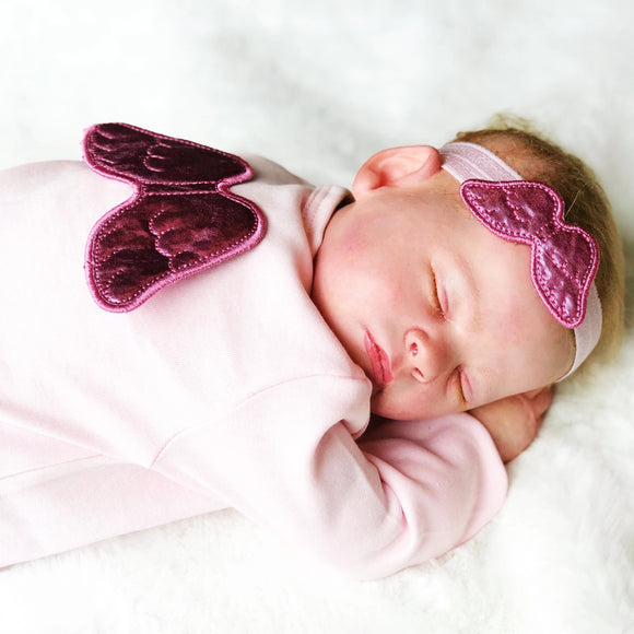 pink baby grow and headband set