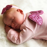 pink baby girl coming home outfit with angel wings