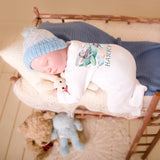 personalised baby grow with bunny print