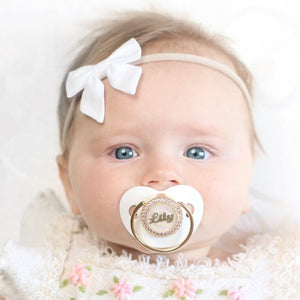 Personalized Swarovski Pacifier in White