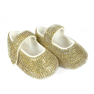 Swarovski Crystals Handmade Baby Girl's Gold Shoes - miniplum
