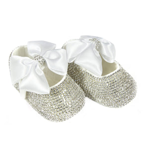 Swarovski Crystal Handmade White Baby Girl's Shoes and Headband Set - miniplum