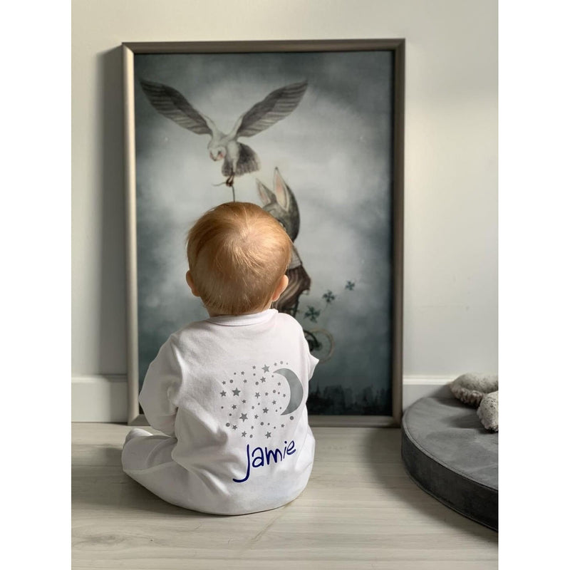 Personalised Baby Sleepsuit Moon and Stars - miniplum