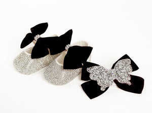 black baby pram shoes and headband