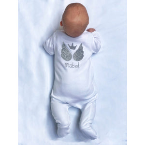 Personalised Baby Sleepsuit Sparkly Angel Wings - miniplum
