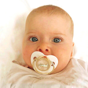 Gold Pleated Personalised Custom Dummy in White - miniplum