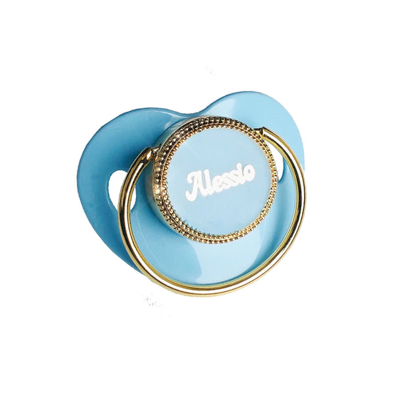 blue personalized baby pacifier
