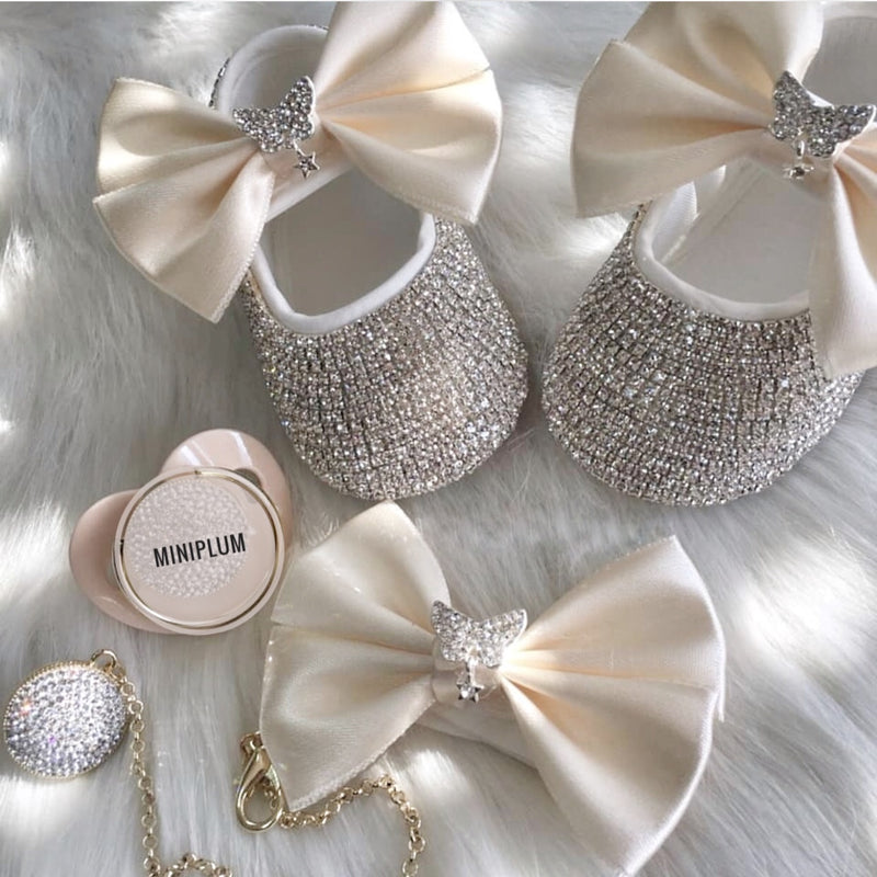 Handmade Swarovski Crystal Off White 3 Piece Luxury Baby Gift Set - miniplum