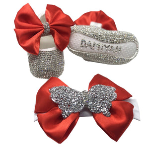 Red Bow Baby Shoes and Hairband Set - miniplum
