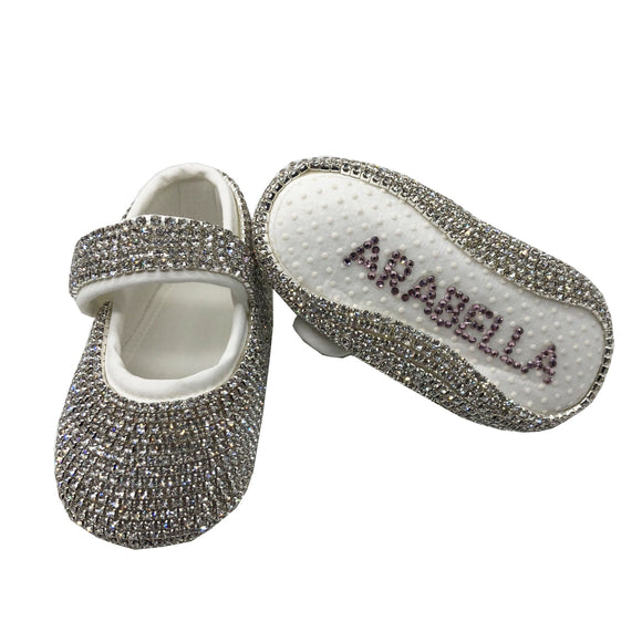 personalised silver baby Shoes - miniplum