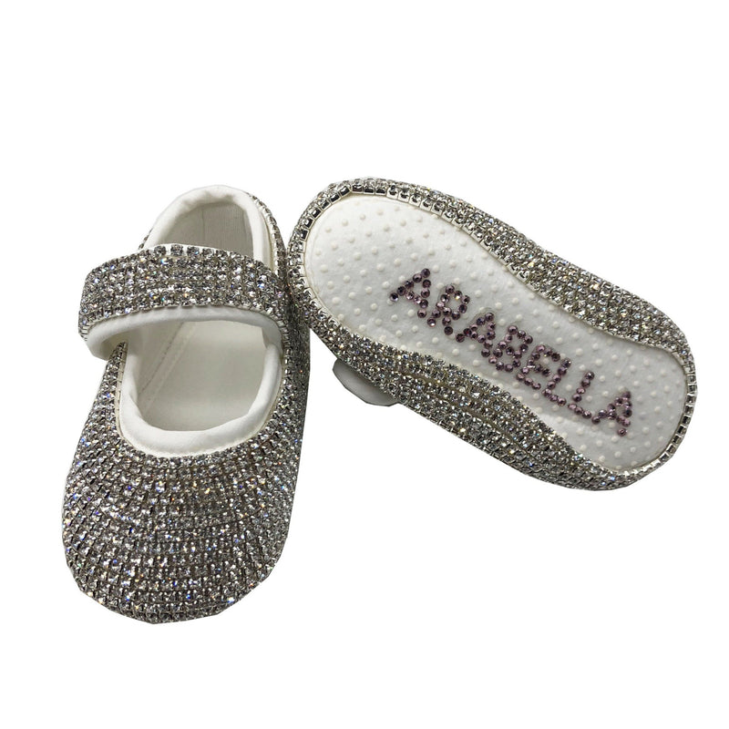 Swarovski Crystals Handmade Baby Girl's Silver Shoes - miniplum