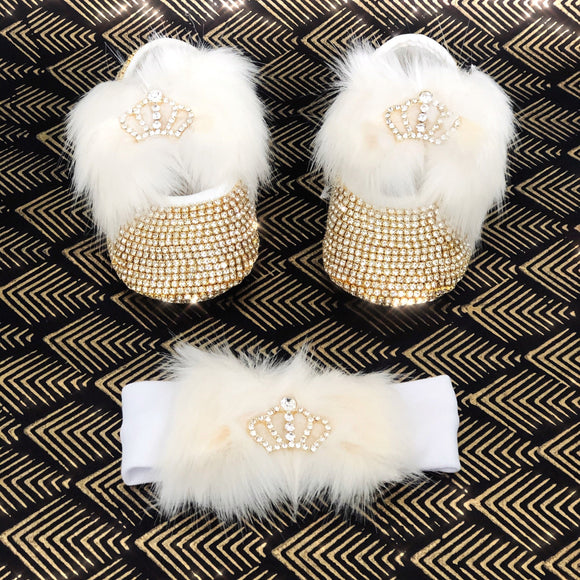Faux Fur Baby Shoes and Headband Set with Crwon Charm