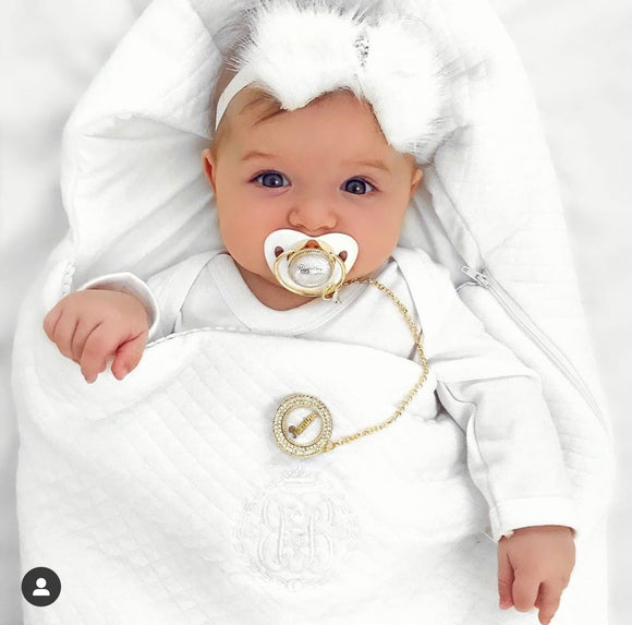 Personalized Glam Pacifier - White&Gold