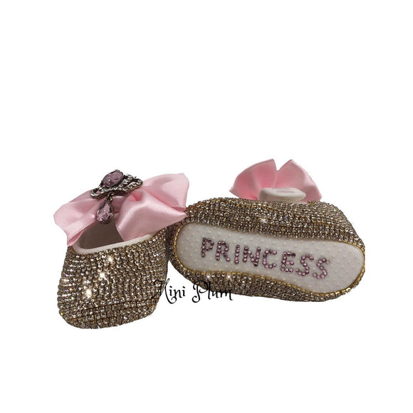 Pink personalised baby girl shoes