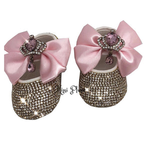 Personalised Baby Girl Christening Gift Shoes in Pink - miniplum